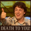 """grundyscribbling: Alan Jones on QI, giving thumbs up, captioned """"Death to you!"""" (QI - death to you!)"""