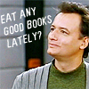 "grundyscribbling: Q from ST:TNG, caption ""Eat any good books lately?"" (star trek - eat any good books?)"