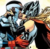 kore: Sam Wilson and Jane foster kiss as Cap and Thor (Default)