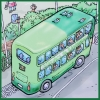 el_staplador: cartoon of green-painted double-decker bus with seagulls perched on the roof; text on side of bus says 'Islanders do it somewhen' and on rear 'Angabate Keep yer distance' (bus)