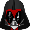 ianna42: Deadpool wearing part of Darth Vader's helmet (critical, Darth Vader, Darth Wader, Deadpool, disbelief, judging)