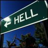 grundyscribbling: road sign pointing direction to hell (signs - hell)