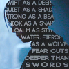grundyscribbling: silhouette of Arya Stark, with various words she's used (asoiaf - aryas words)
