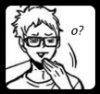 "toomanyhometowns: Tsukishima from Haikyuu making a super cheeky face, one hand over his mouth, and saying ""o?"" (tsukkiface)"