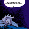 shiegra: calvin from calvin and hobbes sitting sadly in bed with 'sighhhhhhh' in a speech bubble (i have a new philosophy)