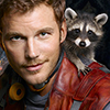 sholio: Starlord with raccoon on shoulder (Avengers-GotG-Starlord with raccoon)