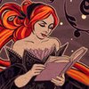 glassfall: A red-haired woman dressed in black, reading a book. ({She lives in a fairy tale})