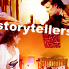 "lokifan: 11 and River telling stories from different scenes, text ""storytellers"" (River/Eleven: storytellers)"