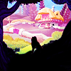 dreamkist: silhouette of alice in front of rabbit's house (alice)