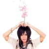 attie: Piko holding a bunch of pink flowers as if they were growing out of his head. (utaite - piko is a flower vase)