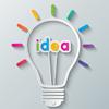 find_an_idea: lightbulb with word idea inside (idea default)