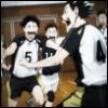 earlgrey_milktea: fukurodani celebrating, bokuto and akaashi running towards each other in foreground, a pure picture (fukurodani)