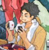 earlgrey_milktea: akaashi eating 2 onigiri at the same time (akaashi keiji)