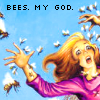 "auto_destruct: a woman fleeing from bees w/text: ""BEES. MY GOD."" (bees.  my god.)"