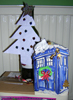 juliet: Paper Xmas tree and paper Tardis (home-made Xmas decorations) (xmas tardis)
