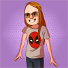 wolfpurplemoon: a woman with long red hair wearing glasses and a deadpool t-shirt (Default)