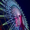pipsy: Kobe ferris wheel at night, lit up in pale greens, blues and pinks. (Kobe)