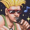 intersquid: Guile from Street Fighter wearing sunglasses and holding a microphone. (guile)