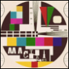 intersquid: A TV test pattern in which the word 'machine' is visible. (slow motion)