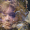 circular_time: Nyssa's face and a shadowy Doctor with a cubist woman's face repeated in the background, a Dalek and a broken clock (dalek2)