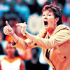 runawaynun: Pat Summitt being encouraging in orange. (Pat Summitt)