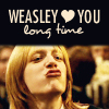 "fueschgast: One of the Weasley twins making a smoochy face, text reading ""Weasley ❤ you long time"". (HP - Weasley twin)"