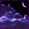 acelightning: crescent Moon above fluffy clouds in dark purple sky (above clouds)