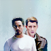 lou: Steve and Tony being boyfriends on a blue background (Default)