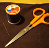 juliet: Needle, thread, and scissors (sewing)