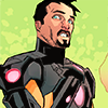 moonlit_lampshade: comic style portrait of Tony Stark in the black and gold armor with his hand to his chest like he's clutching at his pearls, against a green background (tony stark)