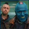 coprime: Yondu smirking with Kraglin in the background trying to look menacing (Yondu & Kraglin)