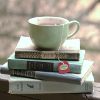 soundofsunlight: A stack of books with a cup of tea. (books)