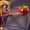 coprime: Sam holding out Barry the Strawberry in excited glee (Sam Sparks :D)