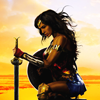 nenya_kanadka: Wonder Woman poster (kneeling with sword) ([pride] she loves me/loves me not)