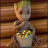 coprime: Baby Groot eating his snack as he watches the goings on (Toddler Groot *munches*)
