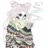 sockpuppeting: A skeleton girl dressed in heavy winter clothing, holding a steaming mug with a hot beverage inside. (Default)
