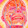 saintbounty: a bright and psychedelic illustration of a bald human figure grinning (laugh [art: alex gray])