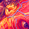 saintbounty: a bright illustration of the nerves in a human head, focusing on one eye and ear (listen [art: alex gray])