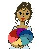minoanmiss: Girl holding a rainbow-colored oval, because one needs a rainbow icon (Rainbow)