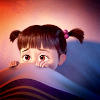 next_to_normal: Boo (Monsters Inc) in bed hiding under the covers (hide under the covers)