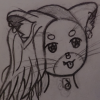 dolljoints: a pencil drawing of a robotic kitty, shown to be robotic by stars in ver eyes. ve has hair on only one side of ver head, and assorted piercings in ver face. ver tongue is sticking out. (Default)