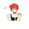 klarogasms: A picture of Mystic Messenger character Luciel Choi a.k.a. 707 wearing a maid outift. (kitty luciel)