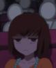 breezeway: ringo oginome looking unimpressed in a darkened theater (-_-)