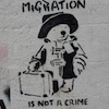"cloudsinvenice: Stencil graffiti of Paddington Bear with the slogan ""migration is not a crime"" (migration: Paddington)"