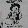 "cloudsinvenice: Stencil graffiti of Paddington Bear with the slogan ""migration is not a crime"" (migration: Paddington)"