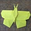 larryhammer: yellow origami butterfly (origami, butterfly, folding the universe)