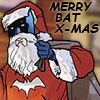 muccamukk: Batman dressed as Santa carrying a bag of toys. Text: Merry Bat X-mas. (DC: Bat X-Mas)
