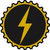 slybrarian: A stylized lightning bolt in gold, on a black circular gear. (gear and lightning)