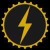 slybrarian: A stylized lightning bolt in gold, on a black circular gear. (gear and lightning)