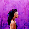longwhitecoats: Amanita from Sense8 w purple background (Amanita)